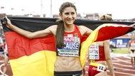 Gesa Felicitas Krause nach ihrem Sieg über die 3000 m Hürden bei den Europameisterschaften in Amsterdam