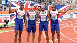 Die britische 4x100-Meter-Staffel mit James Dasaolu, Adam Gemili, James Ellington und Chijindu Ujah © picture alliance / empics Fotograf: Martin Rickett