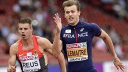 Julian Reus (l.) und Christophe Lemaitre beim Sprint in Zürich